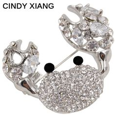 CINDY XIANG Rhinestone And Zircon Crab Brooches For Men/women Unisex Luxury Brooches Pins High Quality Bijouteries Broches 2017