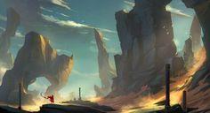 Mobile, Laptop and Desktop Wallpaper HD (High Resolution) Landscape Concept, Landscape Artwork, Fantasy Art Landscapes, Fantasy Landscape, Fantasy City, Fantasy World, Environment Concept Art, Environment Design, Game Art