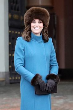 Catherine, Duchess of Cambridge exits the Royal Palace on her way to visit the Princess Ingrid Alexandra Sculpture Park on day 3 of the Duke and Duchess of Cambridge's visit to Sweden and Norway on February 1, 2018 in Oslo, Norway.