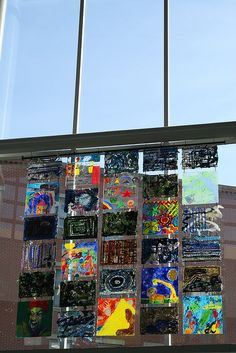 Terminal installation by students at the Advent School, Beacon Hill, Boston. Art on plexiglass. Looks great in person. Garden Projects, Art Projects, Legacy Projects, Boston Art, Sculpture Garden, Beacon Hill, School Games, Collaborative Art, Art Installation