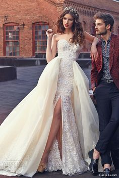 """Crystal""  Strapless Beaded Lace Column/Sheath Wedding Gown Featuring Leg Slit, Sweetheart Neckline Corset Bodice, & Stunning Silk Taffeta Overskirt With Gorgeous Lace Applique by Galia Lahav Spring 2016~~~~~~~~~~~~~~~~~~~~"