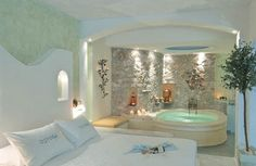 honeymoon suite in Santorini, Greece