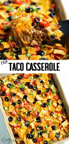 This Taco Casserole Recipe is loaded with all of your Mexican favorites and topped with Doritos, Fritos, or Tortilla Chips! It's easy to assemble days ahead of time and bake later for an easy dinner! dinner crockpot Taco Casserole - The Cozy Cook Easy Taco Casserole, Casserole Dishes, Taco Casserole With Tortillas, Chicken Taco Casserole, Enchilada Casserole, Taco Salad Casserole Recipe, Easy Taco Bake, Healthy Mexican Casserole, Taco Chicken