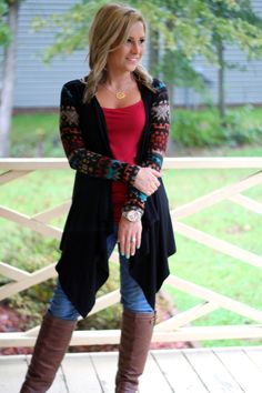 Trendy in Tribal Cardigan: Black - Off the Racks Boutique Tribal Cardigan, Black Cardigan, Cute Cover Ups, Cowgirl Style, Western Style, Boot Outfits, Cute Outfits, Winter Outfits, Winter Clothes