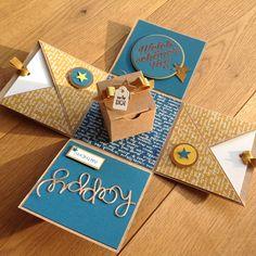 Birthday Box, Happy Birthday Cards, Birthday Greeting Cards, Greeting Cards Handmade, Card In A Box, Exploding Gift Box, Easy Crafts, Crafts For Kids, Birthday Card Design