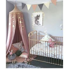 NURSERY / / Baby girl\'s bedroom all set up for her arrival with the stunning Rose Gold @incy_interiors cot, a @mrsmighetto print and Dusty Pink Canopy from @numero74_official with cushions as a cute storytime nook. So lovely  @alicia_and_hudson via @growingfootprints ✔️