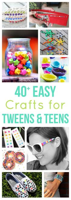 These 40+ awesome creative craft ideas for teens and tweens will keep your kids busy and entertained all summer long!   Summer break is looming upon us, and my kids are already starting to pepper thei