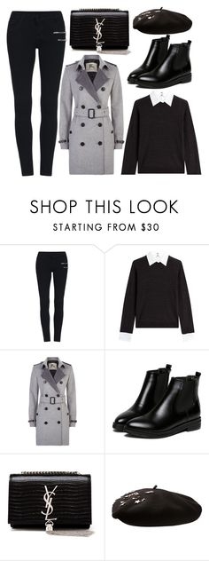 """""""street style"""" by sisaez ❤ liked on Polyvore featuring Steffen Schraut, Burberry, WithChic and Yves Saint Laurent"""