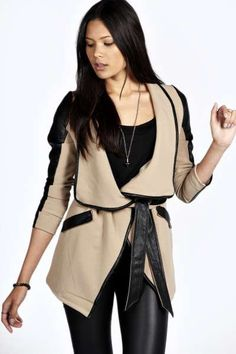 Kallie Belted Waterfall Faux Leather Trim Jacket at boohoo.com