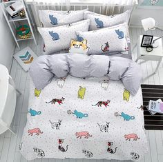 Cheap duvet cover set, Buy Quality bedding set directly from China bedding sets queen Suppliers: 2017 new Lovely cat cartoon kids bedding set Queen size Duvet Cover Sets Pillowcase Bed Sheet Kids Bedroom Coverlets Toddler Girl Bedding Sets, Kids Bedding Sets, Cheap Bedding Sets, Kids Bedroom Sets, Best Bedding Sets, Queen Bedding Sets, Luxury Bedding Sets, Comforter Sets, Bedroom Ideas