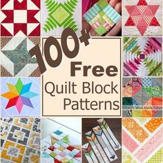 Free Quilt Blocks Keep your creative juices flowing with over 100 free quilt blocks rounded up in one place. The Sewing LoftKeep your creative juices flowing with over 100 free quilt blocks rounded up in one place. The Sewing Loft Quilting For Beginners, Quilting Tutorials, Quilting Projects, Quilting Designs, Sewing Projects, Quilting Tips, Patchwork Patterns, Patchwork Quilting, Quilting Patterns