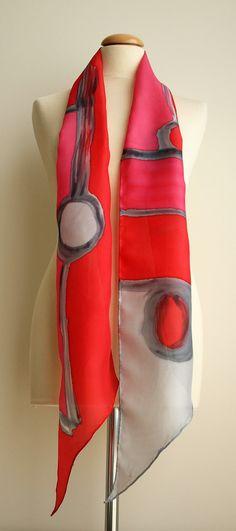 """Handgeschilderde zijden sjaal. 200 x 20 cm. zijde Scarf.Hand zijde geschilderd. Rode sjaal. Bruiloft Gift.Silk gordel. Silk Headband.Silk red.78""""x7.8"""""""
