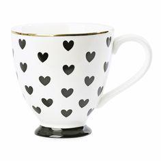 Miss Etoile | Black Hearts Ceramic Coffee Mug | Coffee Cup