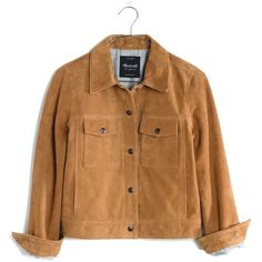 MADEWELL Suede Wayfind Jacket ($498) ❤ liked on Polyvore featuring outerwear, jackets, tops, coats & jackets, bronzed birch, brown suede jacket, madewell, suede leather jacket, suede jacket and madewell jacket