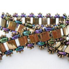 Bronze metallic bracelet seed bead tila twin beadwoven