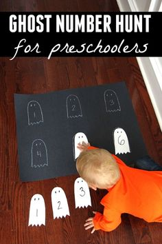 Ghost Number Hunt für Kinder im Vorschulalter - halloween crafts Halloween Crafts For Toddlers, Easy Halloween, Toddler Crafts, Halloween Themes, Halloween Preschool Activities, Halloween Activities For Preschoolers, Halloween Week, Children Crafts, Craft Activities