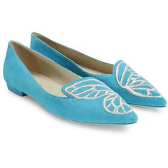 Sophia Webster Women's Bibi Suede Butterfly Flats (4.885.710 IDR) ❤ liked on Polyvore featuring shoes, flats, apparel & accessories, suede flats, flat pointy toe shoes, pointed toe flats, embroidered flats and flat pumps