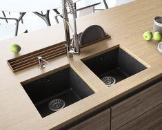 Chiuvetă granit cu montare sub blat Lavello Performa MM - Chiuvete Lavello Granite Kitchen Sinks, Composite Kitchen Sinks, Composite Sinks, Kitchen Appliances, Black Sink, Bowl Sink, Undermount Sink, Metallic Colors, Sweet Home