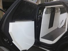 Police Transport by Havis for Durango. Easy to install, heavy duty aluminum, aluminum fold down interior window guards and door panels. Police Truck, Ford Police, Police Dogs, Interior Window Shutters, Interior Windows, Interior Trim, Luxury Interior, Interior Paint, Pet Screen Door