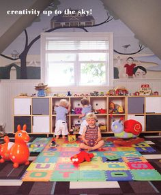 Super stylish #playroom with gorgeous #FLOR tiled rug.