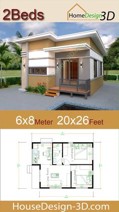 House Design Meter Feet 2 Bedrooms Shed Roof The House has: -Car Parking and garden -Living room, -Dining room -Kitchen Bedrooms, 1 bathroom -washing room 3d House Plans, Model House Plan, House Layout Plans, Small House Plans, House Layouts, Micro House Plans, House Design 3d, Bungalow Haus Design, Modern Bungalow House
