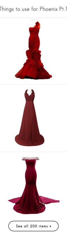 """Things to use for Phoenix Pt.1"" by galaxies-of-diamonds ❤ liked on Polyvore featuring dresses, gowns, long dresses, vestidos, red dress, red gown, red evening dresses, long red evening dress, long red dress and prom dresses"