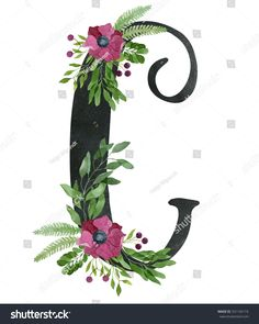 Monogram letter C made of black chalkboard background and floral composition from red wine color anemone flowers, green leaves, fern and berries. Watercolor flower alphabet. Real watercolor painting.