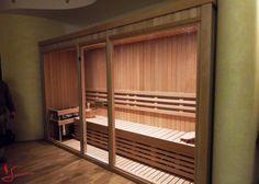 Stor lys indbygget sauna i lyst alder træ med glas front. Vi hjælper dig med en løsning der passer dit behov. se flere saunaer her www.saunaovn.dk Divider, Room, Furniture, Home Decor, Bedroom, Decoration Home, Room Decor, Rooms, Home Furnishings