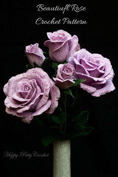 Blue Moon Rose Crochet Downloadable Pattern. #crochet#valentines#flowers#rose#ad