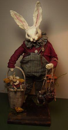 Handmade White By Kim Sweet~Kim's Klaus~OoAk Vintage Antique Easter Folk Art Doll