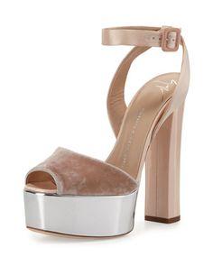 48404b50840 Giuseppe Zanotti Velvet   Leather Platform Ankle-Wrap Sandals