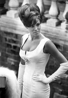 Racquel Welch looking sultry with a classic beehive.