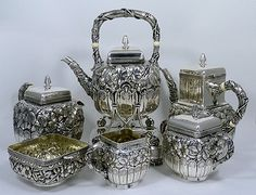 19th century hand chased Gorham sterling teaset - includes prebanned ivory insulators on some handles because sterling conducts heat, and the handles get hot!