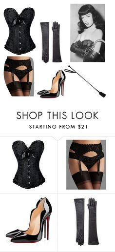 """Bettie Page Pin Up Costume"" by oliviaf14 ❤ liked on Polyvore featuring Hanky Panky, Christian Louboutin, Saks Fifth Avenue Collection and Bettie Page"