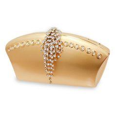 Scheilan BM polished gold fan shaped box clutch