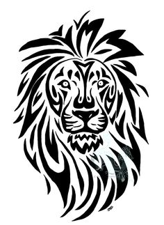 Tattoo Lion Tribal Ideas For 2019 Line Drawing Tattoos, Tattoo Drawings, Art Drawings, Arte Tribal, Tribal Art, Tribal Lion Tattoo, Tattoo Animal, Tribal Drawings, Tribal Animals