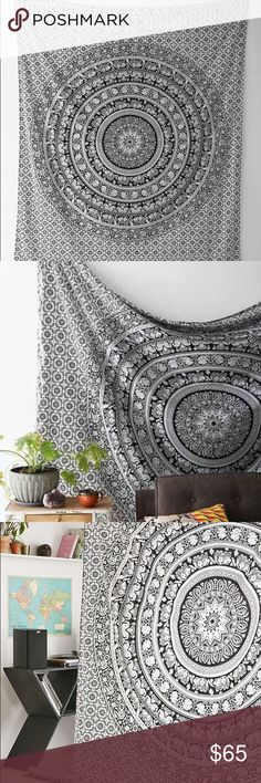 Urban Outfitters tapestry large black and white tapestry, only used a little bit for my wall, small holes from nails from being hung up, not noticeable, great condition! Urban Outfitters Other