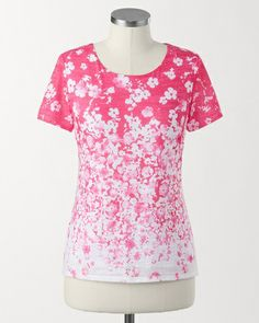 Illusion fading floral tee - [K24856]