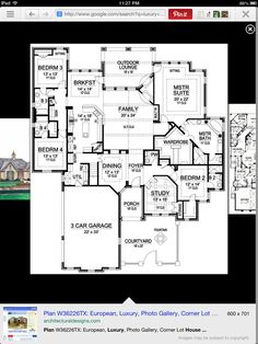 One Story Luxury House Plan. 4 Bedroom, Large Kitchen, And Huge Master WIC