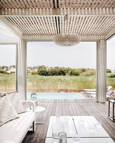 Spent the day dreaming about this pool & view from our clients' home. Algarve, Portugal, Outdoor Furniture Sets, Outdoor Decor, Love Home, Beach House, Pergola, Shed, Exterior