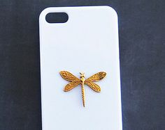 Dragonfly Phone Cover, Dragon Fly iPhone 5 Case, iPhone 5c Dragonfly White Galaxy S3 Case Animal Case iPhone 4 Dragonfly Phone Cover, Gold