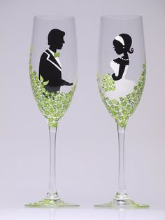 Hand Painted Wedding Toasting Flutes Groom And Bride Green White Loving