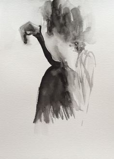 #watercolor #black&white #b&w #painting #back #hair #art #portrait Hair Art, Black White, Watercolor, Portrait, Abstract, Artwork, Painting, Black And White, Pen And Wash