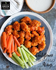 Cauliflower Buffalo Wings -- Lightly battered and baked cauliflower is the perfect stand-in for chicken wings. And they�re much healthier too! All the flavor and zero the guilt! #SimpleGreenSmoothies #healthy #cauliflower