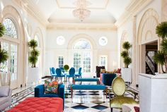 Classic interior with modern fun color furnishings