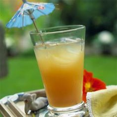 ALOHA PUNCH 2 cups pineapple juice   1 cup strawberry juice   1 cup guava juice   1 cup pear nectar   1 cup orange carbonated beverage   Garnish: paper parasols    Preparation  Stir together first 5 ingredients; serve over crushed ice. Garnish, if desired.   Note: In testing we used Orangina for orange carbonated beverage.