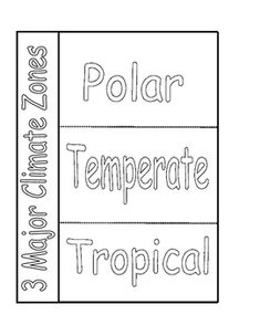 This is a foldable over the 3 major climate zones.  Students can cut out the foldable and glue it down in their journal.  Students can write information under each flap using their textbook or the internet