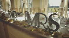 Cute Wedding Head Table Decor| Silver Glitter Mr & Mrs Sign| Rose Petals| Wedding Decor Ideas| South Jersey Wedding Venue
