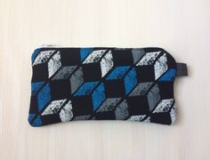 Geometric Flannel Pouch - Zippered - Soft Glasses Case - Blue, Gray -Coin Purse -Lightly Padded Small Pouch - Guys Gifts, Box Pattern by BlackcatmeowDesigns on Etsy