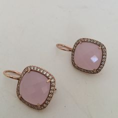 Rose gold over sterling silver Rose gold over sterling silver with pink quarts and rhinestones  ,new , bundle to save for shipping Jewerly  Jewelry Earrings